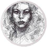 Portrait Sketch  Round Beach Towel