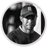 Portrait  Tiger Woods Black White  Round Beach Towel