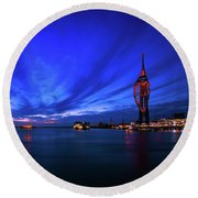 Round Beach Towel featuring the photograph Portsmouth Blue by Mariusz Czajkowski