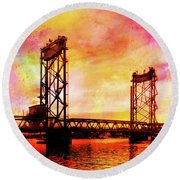 Portsmouth Memorial Bridge Abstract At Sunset Round Beach Towel