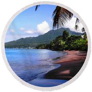 Portsmouth Shore On Dominica Filtered Round Beach Towel