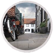 Round Beach Towel featuring the photograph Portugal Place Cambridge by Gill Billington