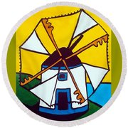 Round Beach Towel featuring the painting Portuguese Singing Windmill By Dora Hathazi Mendes by Dora Hathazi Mendes