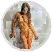 Round Beach Towel featuring the digital art Pose Nue by Rafael Salazar