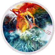 Round Beach Towel featuring the painting Poseidon by Henryk Gorecki