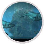 Round Beach Towel featuring the digital art Poseidon's Grave by Daniel Eskridge