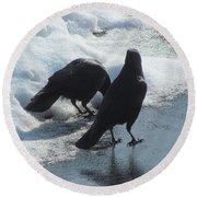 Posing Crows Round Beach Towel