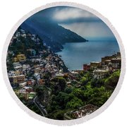 Positano By The Amalfi Coast Round Beach Towel