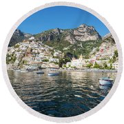 Positano From The Bay Round Beach Towel