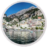 Positano From The Sea - Panorama I Round Beach Towel