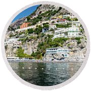 Positano From The Sea - Panorama II Round Beach Towel