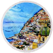Round Beach Towel featuring the painting Positano by Hanne Lore Koehler