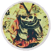 Possessed Vintage Horror Doll  Round Beach Towel