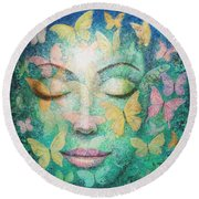 Round Beach Towel featuring the painting Possibilities Meditation by Sue Halstenberg