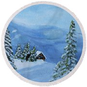 Round Beach Towel featuring the painting Post Blizzard Silence by Jack G Brauer
