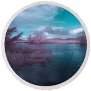 Round Beach Towel featuring the digital art Post Flood Surreal by Chriss Pagani