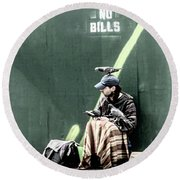 Round Beach Towel featuring the photograph Post No Bills by Marvin Spates