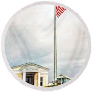 Post Office In Seaside Florida Round Beach Towel
