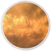 Sign Post Ahead - Storm Clouds Round Beach Towel