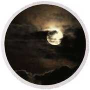Post Solstice Moon Round Beach Towel by Angela J Wright