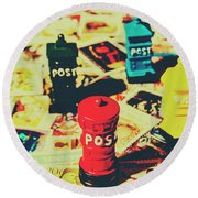 Round Beach Towel featuring the photograph Postage Pop Art by Jorgo Photography - Wall Art Gallery