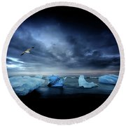 Postcard From Jokulsarlon Round Beach Towel