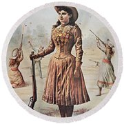 Poster For Buffalo Bill's Wild West Show With Annie Oakley Round Beach Towel