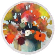 Pot Of Flowers Round Beach Towel