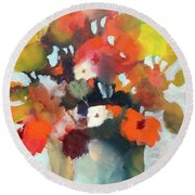 Round Beach Towel featuring the painting Pot Of Flowers by Michelle Abrams
