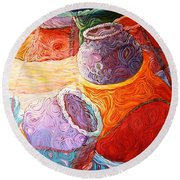 Pot Of Life Round Beach Towel by Bankole Abe