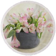 Round Beach Towel featuring the photograph Pot Of Pink Alstroemeria by Kim Hojnacki