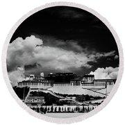 Potala Palace Bw. Lhasa, Tibet. Yantra.lv Round Beach Towel