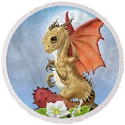 Potato Dragon Round Beach Towel by Stanley Morrison