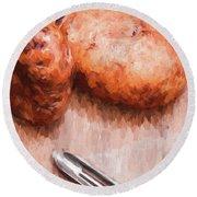 Potatoes And Peeler Cooking Digital Sketch Round Beach Towel