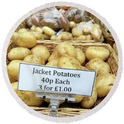 Potatoes At The Market  Round Beach Towel by Tom Gowanlock