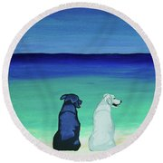 Lab Potcake Dogs On The Beach Round Beach Towel
