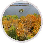 Round Beach Towel featuring the photograph Potowatomi Tower by Greta Larson Photography