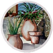 Pots And Bougainvillea Round Beach Towel