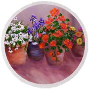 Pots Of Flowers Round Beach Towel