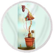 Trolls And Ladders.  Round Beach Towel