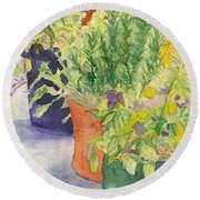 Round Beach Towel featuring the painting Potted Beauties  by Vicki  Housel