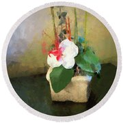Potted Flower Round Beach Towel