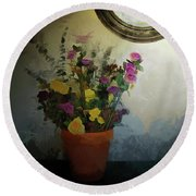 Potted Flowers 2 Round Beach Towel