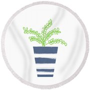 Round Beach Towel featuring the mixed media Potted Plant 1- Art By Linda Woods by Linda Woods