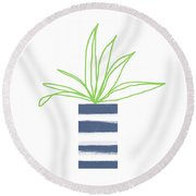 Round Beach Towel featuring the mixed media Potted Plant 2- Art By Linda Woods by Linda Woods