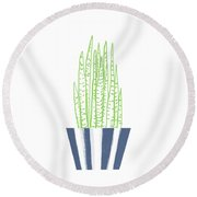 Round Beach Towel featuring the mixed media Potted Succulent 3- Art By Linda Woods by Linda Woods