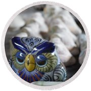 Pottery Bird Round Beach Towel