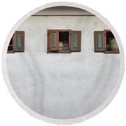 Round Beach Towel featuring the photograph Pottery In The Windows - Slovenia by Stuart Litoff