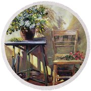 Pottery Maker's Table Round Beach Towel