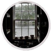 Pottery Studio Window On The River In Sherbrooke Village Nova Scotia Round Beach Towel